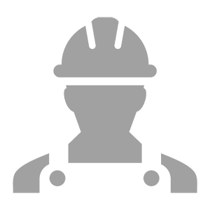Employee icon vector male construction worker person profile avatar with hardhat helmet and jacket in glyph pictogram illustration