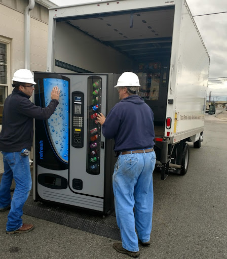 Delivery of vending equipment. Vending Systems, Inc. delivers machines to their clients